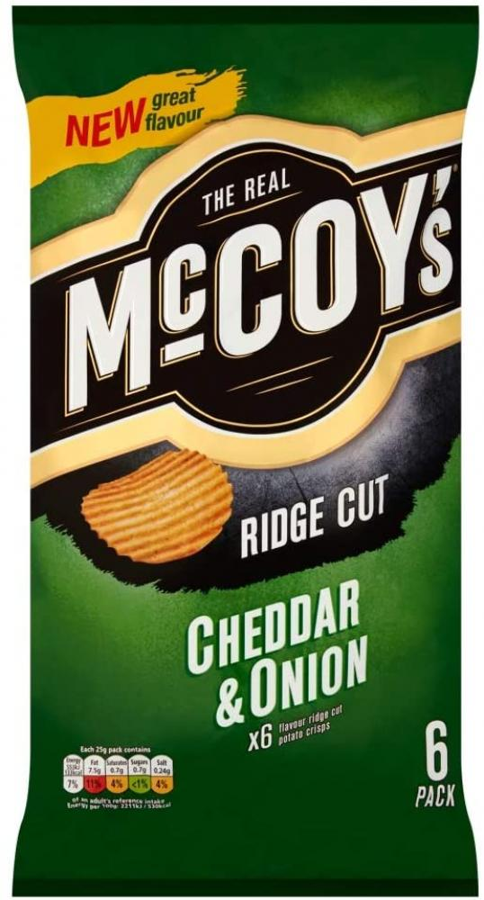 Mccoys Cheddar and Onion Multipack Crisps 6x25g