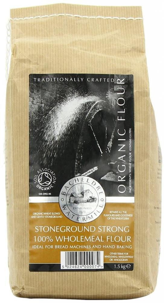 SALE  Bacheldre Watermill Organic Stoneground Strong 100 Percent Wholemeal Flour 1.5Kg