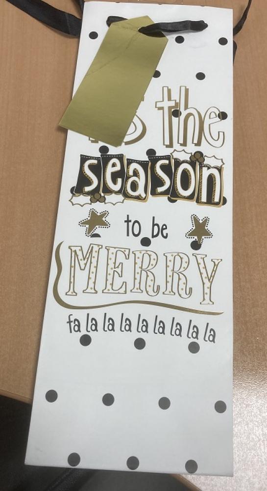 Christmas Tis The Season To Be Merry Bottle Gift Bag