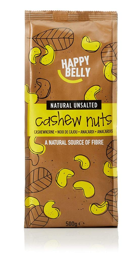 Happy Belly Natural Unsalted Cashew Nuts 500g