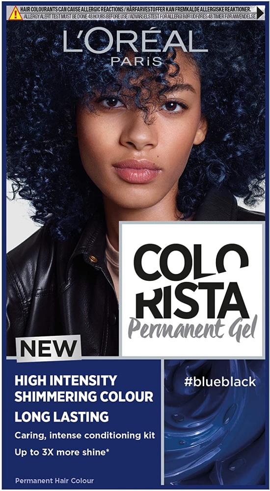 Loreal Paris Colorista BLUE Black Permanent Hair Dye Gel Long-Lasting Permanent Hair Colour