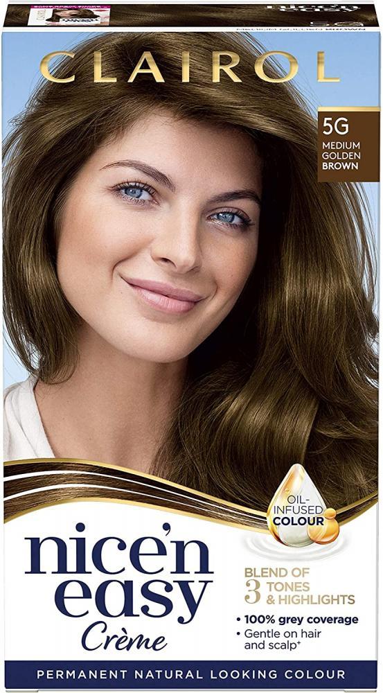 Clairol Nicen Easy Creme Pemanent Natural Looking Colour 5G Medium Golden Brown