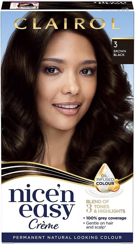 Clairol Nicen Easy Natural Looking Oil Infused Permanent Hair Dye 3 Brown Black