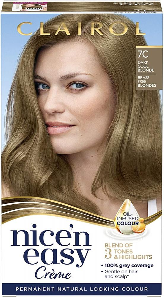 Clairol Nicen Easy Nicen Easy Creme Oil Infused Permanent Hair Dye 7C Dark Cool Blonde Damaged Box