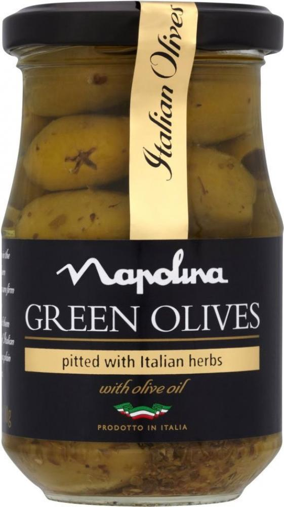Napolina Green Olives Pitted With Italian Herbs 190g