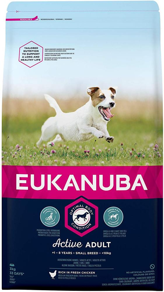 Eukanuba Adult Dog Food for Small Dogs Rich in Fresh Chicken for the Optimal Body Condition 3 kg