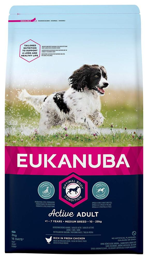 Eukanuba Adult Dog Food For Medium Dogs With Chicken 3 kg