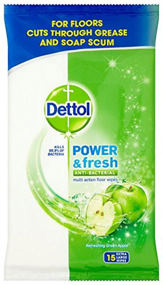 Dettol Floor Cleaning Wipes Power and Fresh Apple 15 Wipes