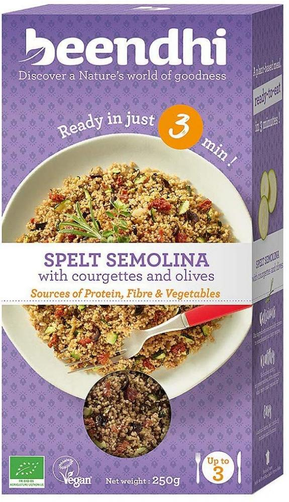 Beendhi Spelt Semolina with Courgettes and Olives 250 g