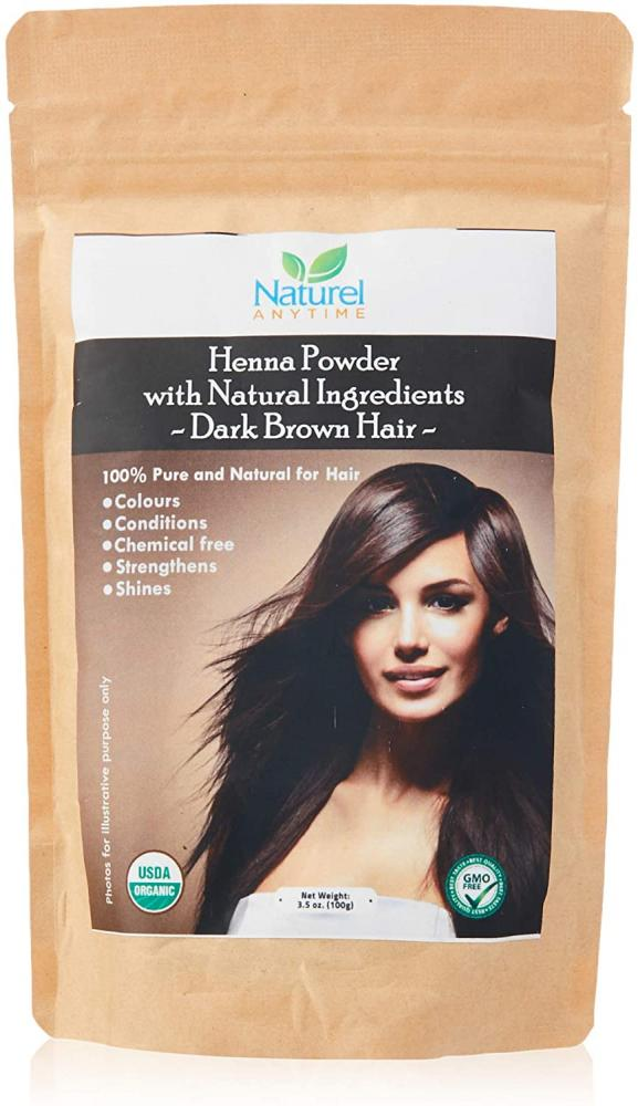 Naturel Anytime Henna for Dark Brown- Black-Reddish brown Colour Hair 100 g