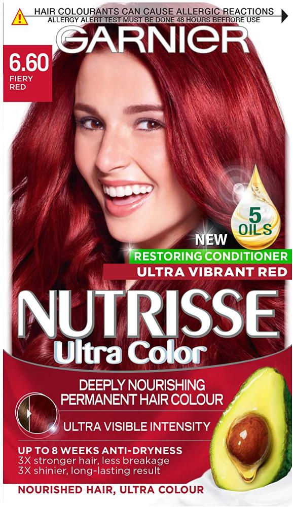 Garnier Nutrisse Red Hair Dye Permanent Up to 100 Percent Grey Hair Coverage with 4 Oils Conditioner - 6.60 Fiery Red