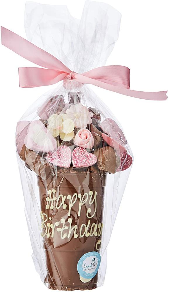 Sweet Tree by Browns Floral Chocolate Smash Cup - Personalised with Happy Birthday 1kg
