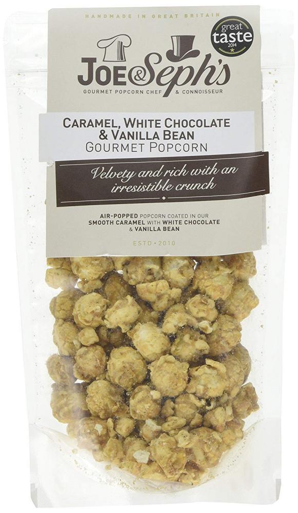 Joe and Sephs Caramel White Chocolate and Vanilla Bean Gourmet Popcorn 80g