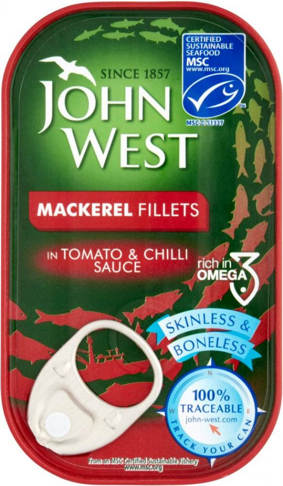 John West Mackerel Fillets Tomato and Chilli Sauce 125g