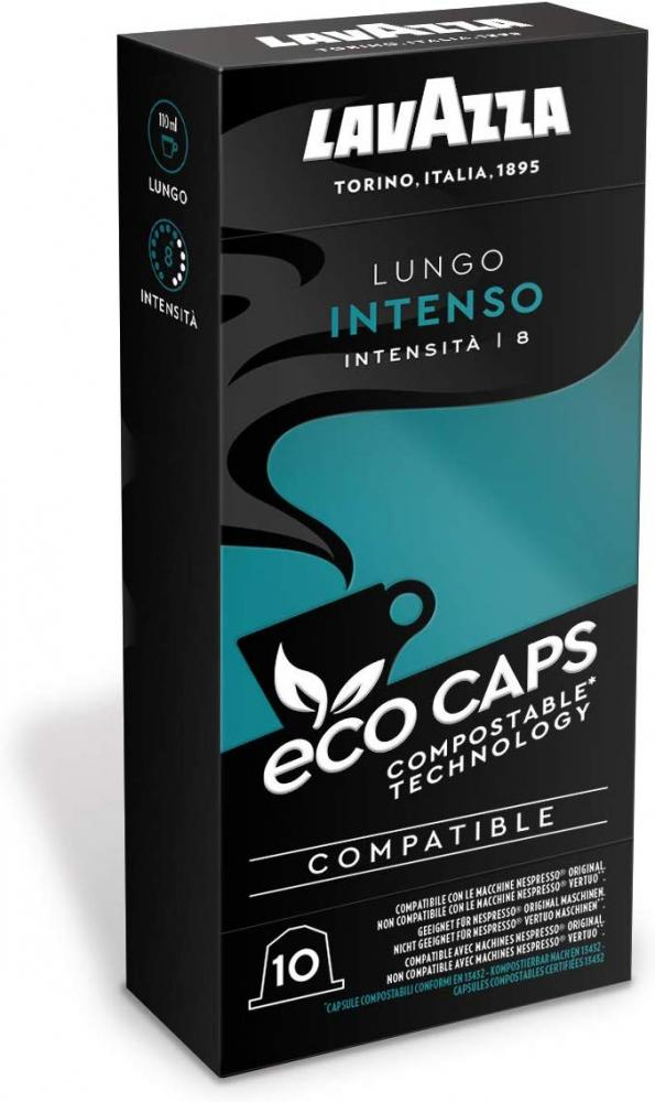 Lavazza Coffee Pods Compatible with Nespresso Original Machines Lungo Intenso 10 Eco Caps