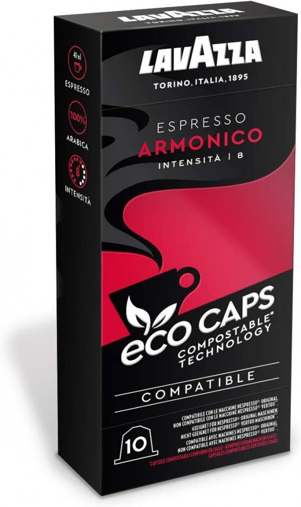 Lavazza Eco Caps Espresso Armonico Coffee Pods Compatible with Nespresso 10 Damaged Box
