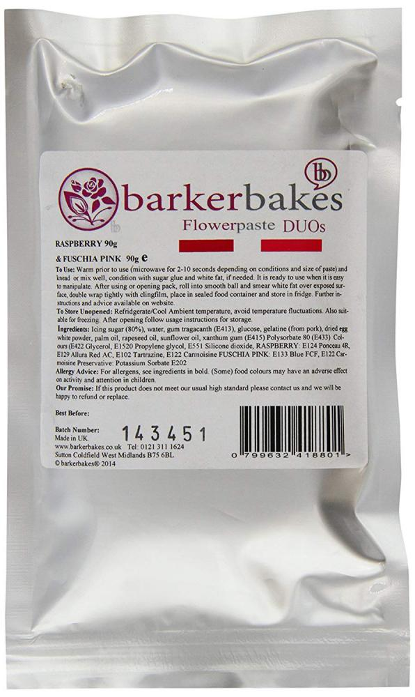 Barker Bakes Flowerpaste Duos Raspberry and Fuschia Pink 180g