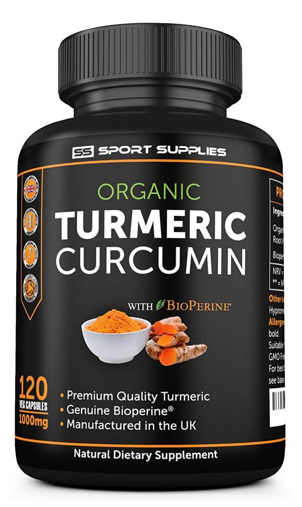 WEEKLY DEAL  SS Sport Supplies Organic Turmeric Curcumin 120 Veg Capsules