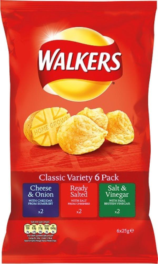 Walkers Classic Variety Crisps 25g x 6