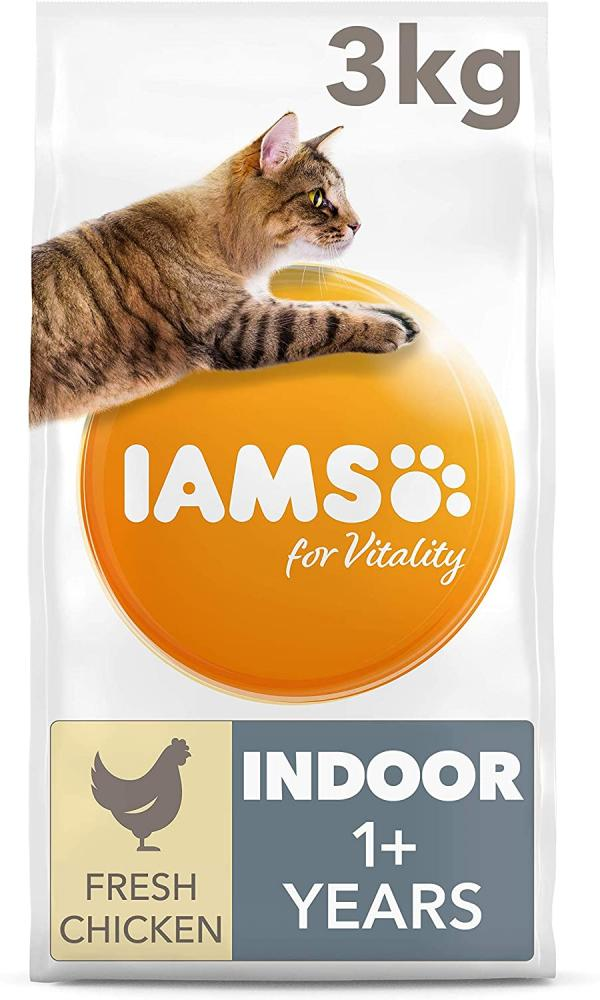 Iams for Vitality Indoor Dry Cat Food with Fresh Chicken for Adult and Senior Cats 3kg