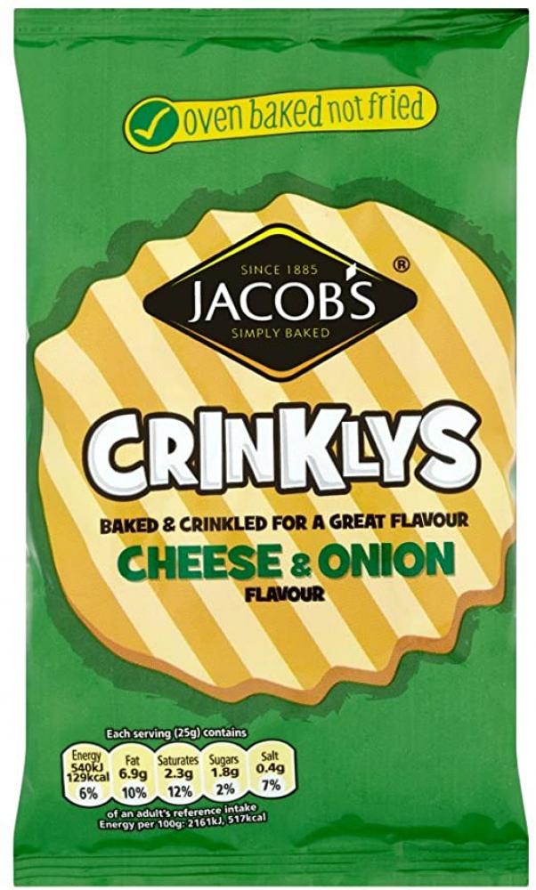 Jacobs Bked Crinklys Cheese and Onion Flavour 50g