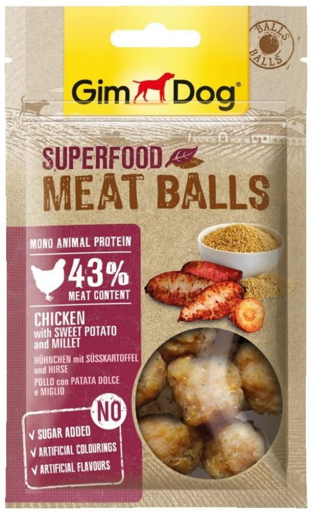 GimDog Superfood Meat Balls Chicken with Sweet Potato and Millet 70g