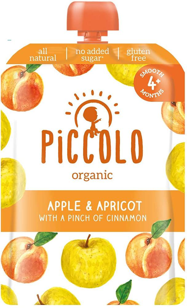 Piccolo Organic Apple and Apricot Puree with a Pinch of Cinnamon Stage 1 Baby Food 100g