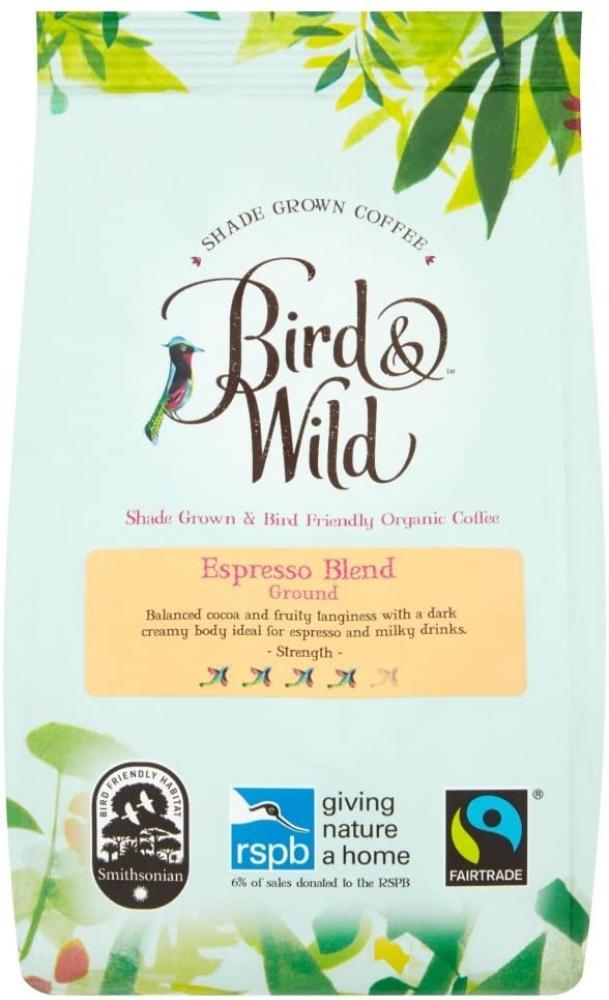 Bird and Wild Medium Dark Espresso Roast Strong Ground Coffee 200g
