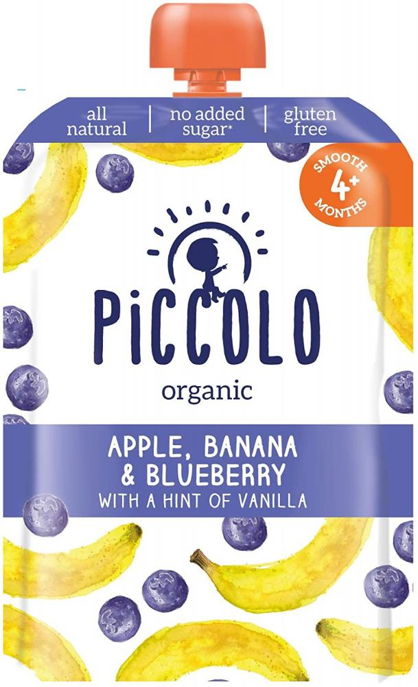 Piccolo Organic Banana and Blueberry Puree with a Hint of Vanilla Stage 1 100g