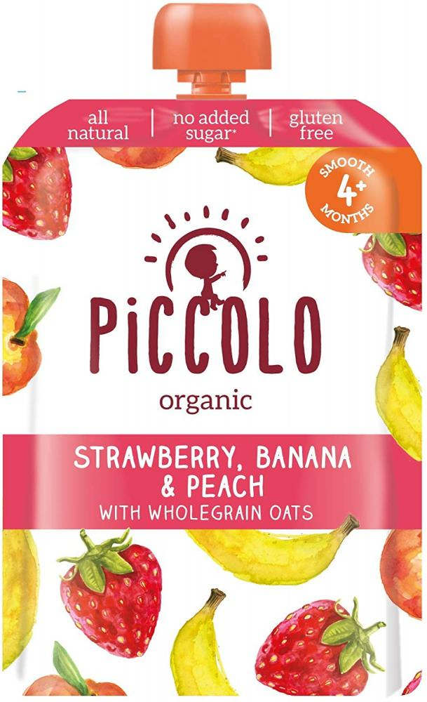 Piccolo Organic Banana Strawberry and Peach Puree Baby Food 100 g