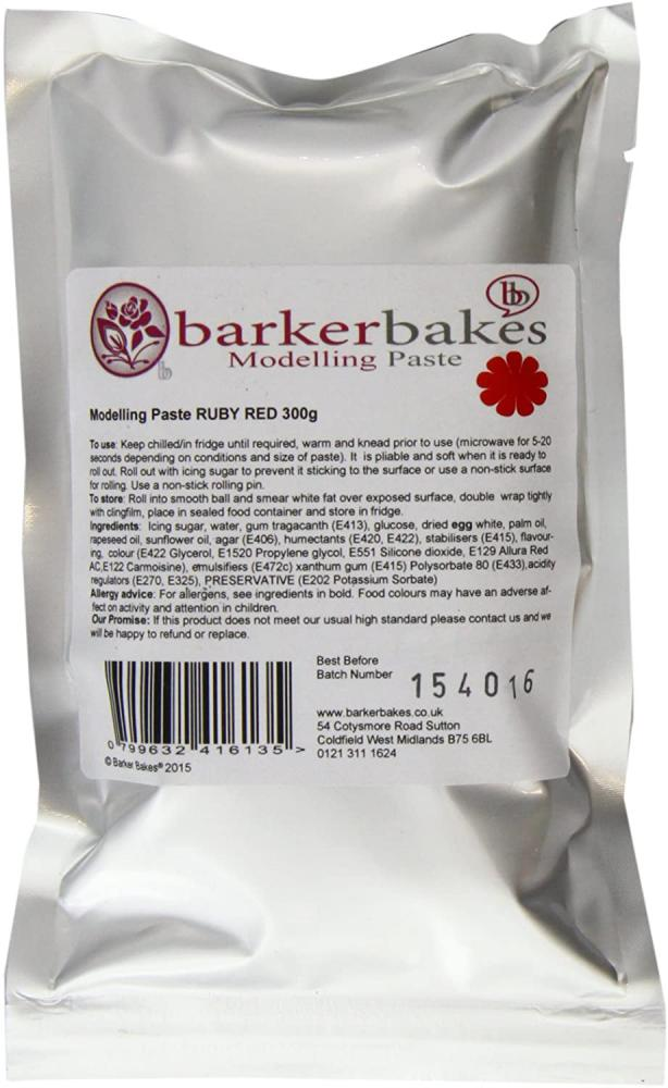 SALE  Barker Bakes Sugar Modelling Paste Ruby Red 300g