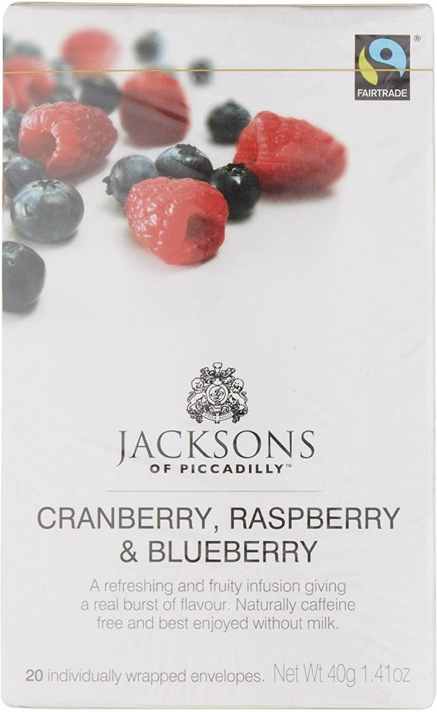Jacksons Of Piccadilly Fairtrade Cranberry Raspberry and Blueberry Tea 20 teabags