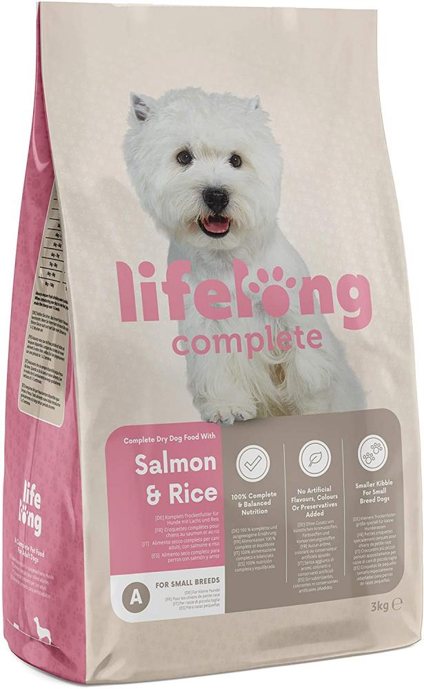 Lifelong Complete Dry Dog Food with Salmon and Rice for Small Breeds 3kg
