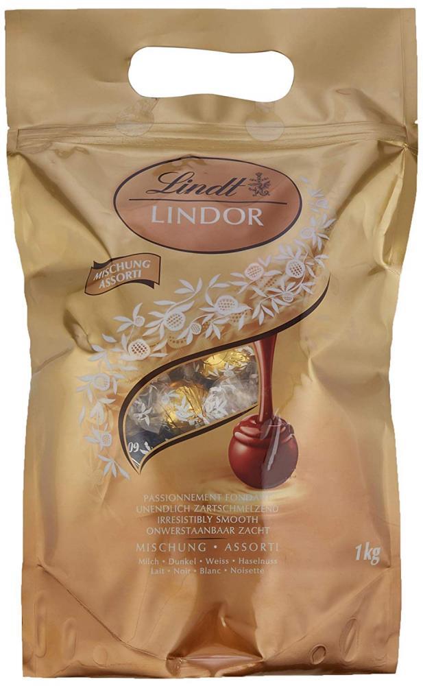 Lindt Lindor Assorted Milk Chocolate White Chocolate Dark Chocolate and Milk Hazelnut Chocolate Truffles 1 kg