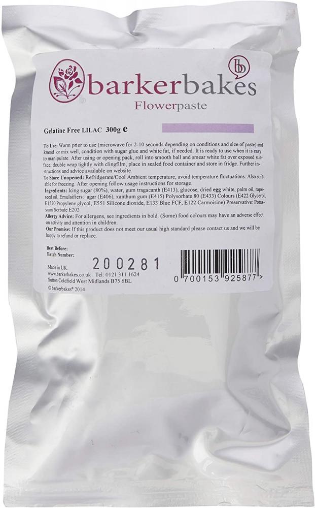 Barker Bakes Gelatine Free Lilac Flowerpaste for Cake Decorating and Sugar Flowers 300 g