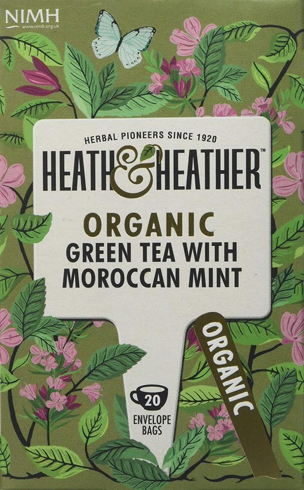 Health and Heather Organic Green Tea with Moroccan Mint 20 Teabags