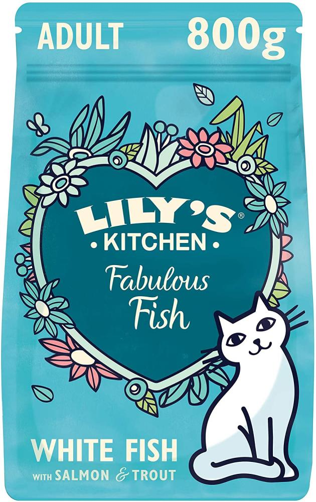 Lilys Kitchen White Fish and Salmon Fishermans Feast Complete Adult Dry Cat Food 800 g