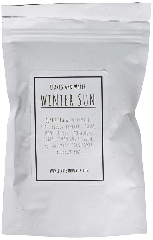 Leaves And Water Winter Sun Premium Loose Leaf Black Tea with Peach Canaloupe Pineapple and Mango 80g