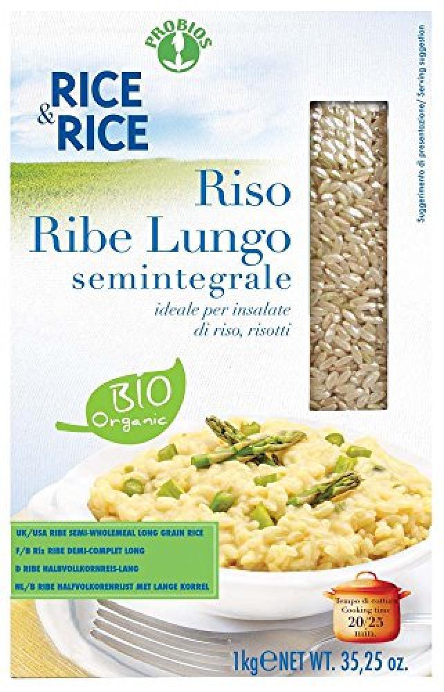 Probios Organic Long Grain Semi Whlemeal Rice Ribe 1Kg