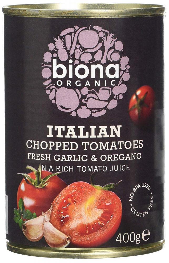 Biona Organic Chopped Tomatoes with Garlic and Oregano 400 g