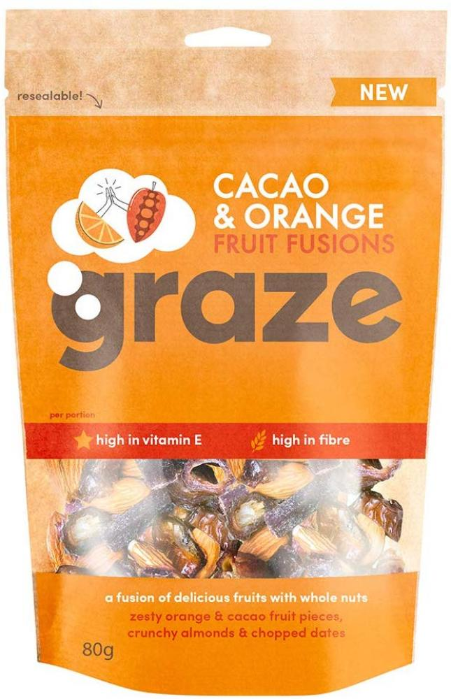 Graze Cacao and Orange Fruit Fusions 80 g