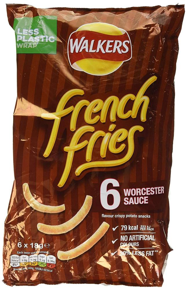 Walkers French Fries Worcester Sauce Multipack Snacks 6x18g