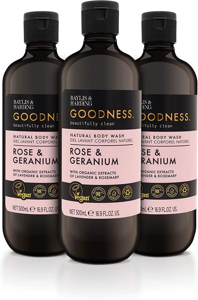 Baylis and Harding Goodness Rose and Geranium Body Wash 500ml