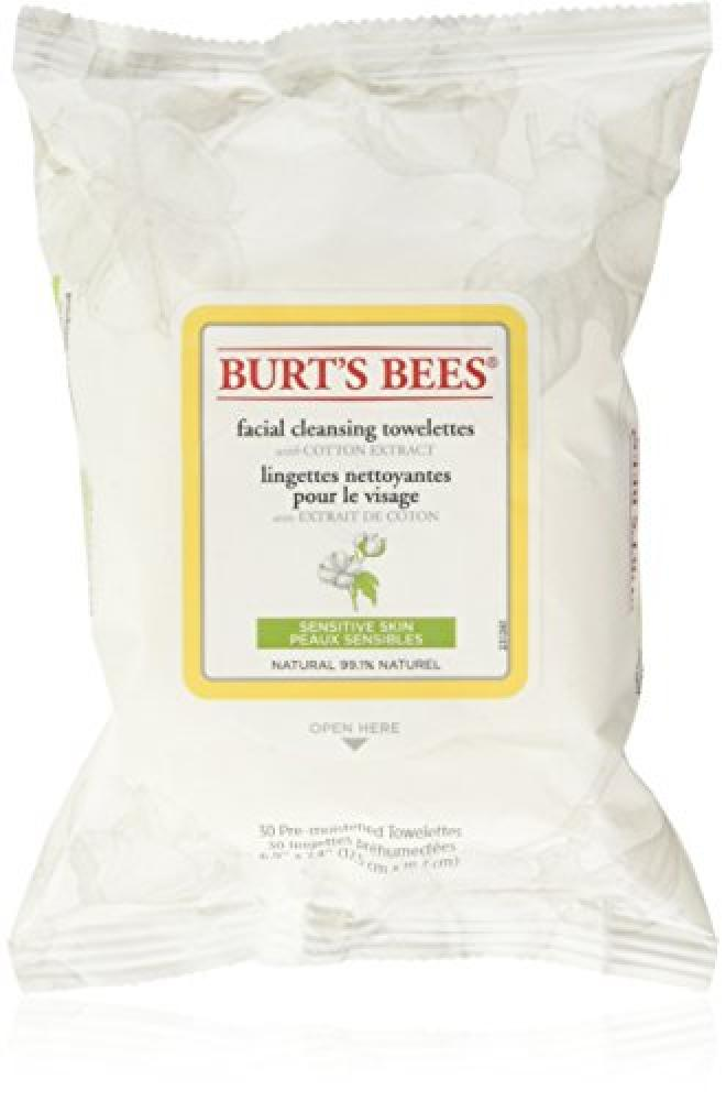Burts Bees Sensitive Facial Cleansing Towelettes with Cotton Extract 30 Count