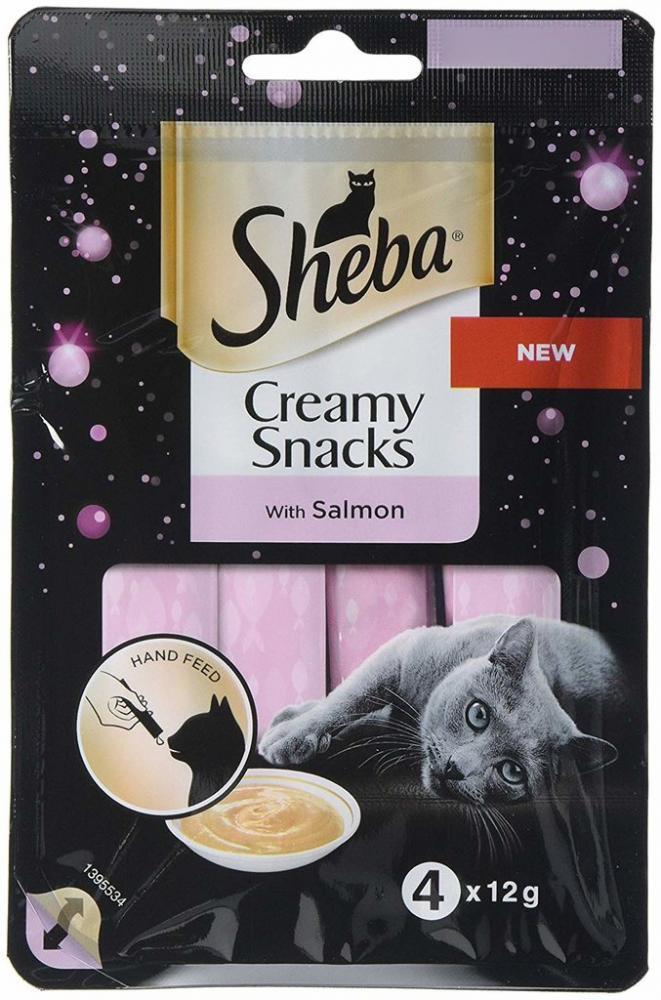 Sheba Creamy Snacks Cat Treats With Salmon 4x12g