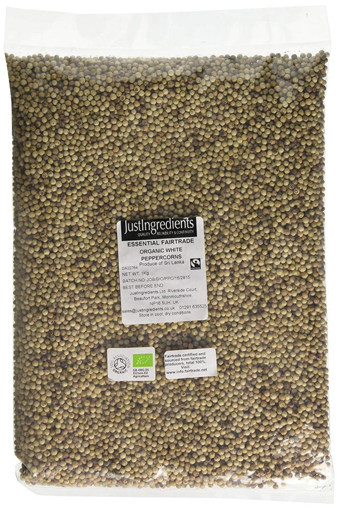 JustIngredients Essentials Organic Fairtrade White Peppercorns 1kg