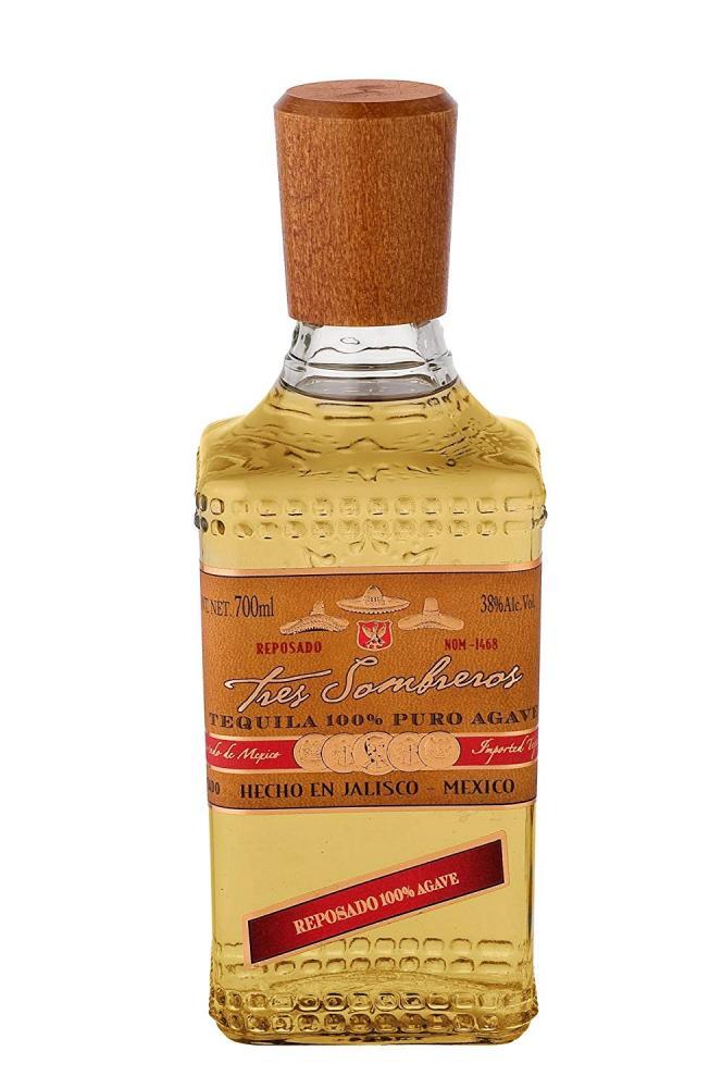 Tres Sombreros Reposado 100 Percent Agave Tequila 70cl