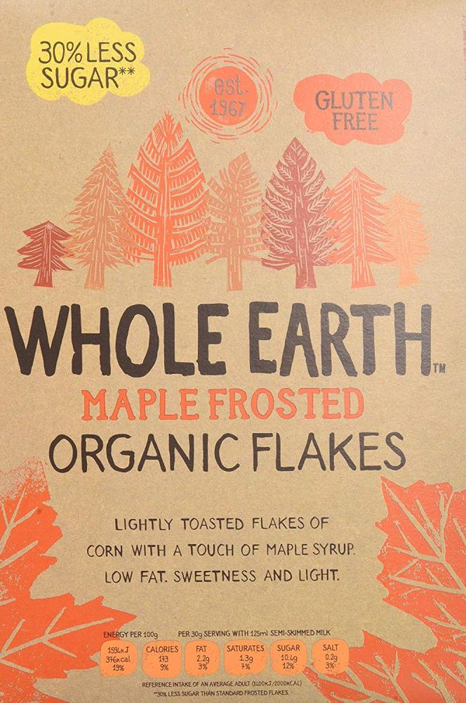 Whole Earth Organic Gluten Free Maple Frosted Corn Flakes 375g