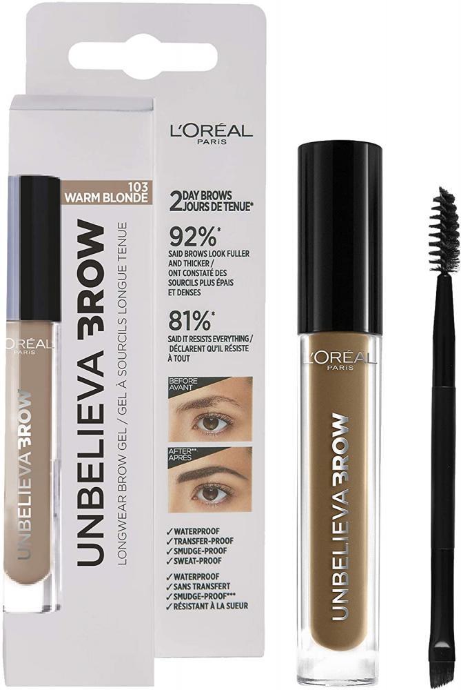 Loreal Paris UnbelievaBrow Long-Lasting Eyebrow Gel Smudge-Proof Transfer-Proof Waterproof 103 Warm Blonde 3.4 ml