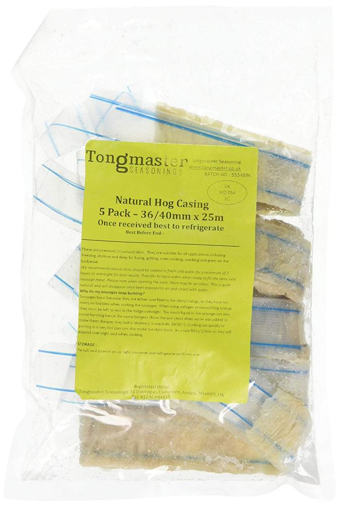 Tongmaster Premium British Natural Hog Casing Skin 25 m Length x 3640 Diameter